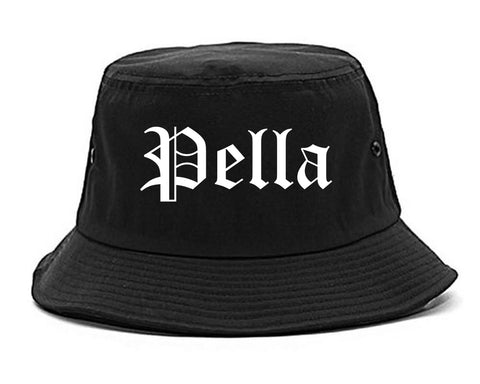Pella Iowa IA Old English Mens Bucket Hat Black