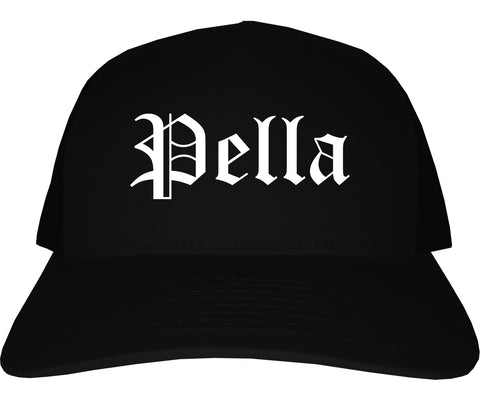 Pella Iowa IA Old English Mens Trucker Hat Cap Black