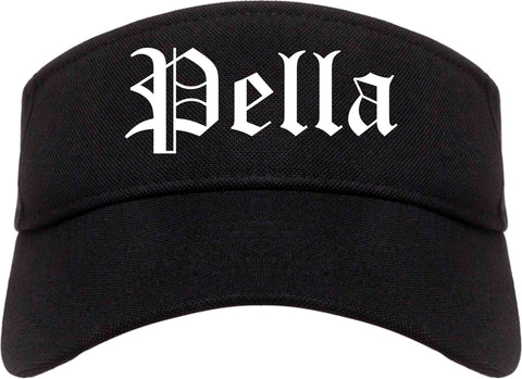 Pella Iowa IA Old English Mens Visor Cap Hat Black