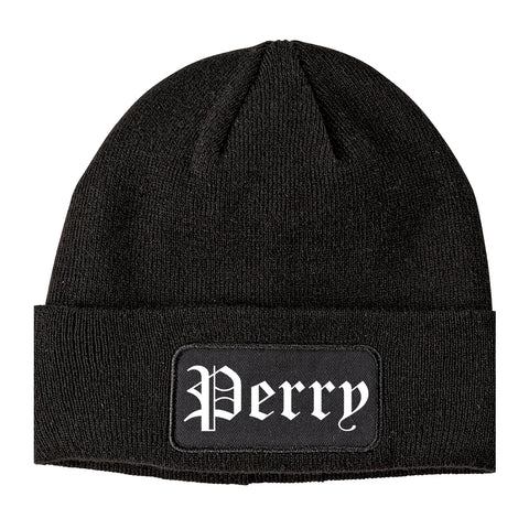 Perry Iowa IA Old English Mens Knit Beanie Hat Cap Black
