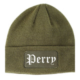 Perry Iowa IA Old English Mens Knit Beanie Hat Cap Olive Green