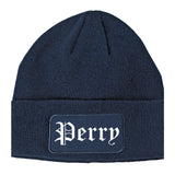 Perry Iowa IA Old English Mens Knit Beanie Hat Cap Navy Blue