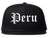 Peru Illinois IL Old English Mens Snapback Hat Black