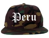Peru Illinois IL Old English Mens Snapback Hat Army Camo