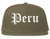 Peru Illinois IL Old English Mens Snapback Hat Grey
