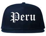 Peru Illinois IL Old English Mens Snapback Hat Navy Blue