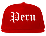 Peru Illinois IL Old English Mens Snapback Hat Red