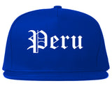 Peru Illinois IL Old English Mens Snapback Hat Royal Blue