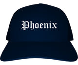 Phoenix Arizona AZ Old English Mens Trucker Hat Cap Navy Blue