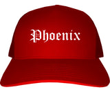 Phoenix Arizona AZ Old English Mens Trucker Hat Cap Red