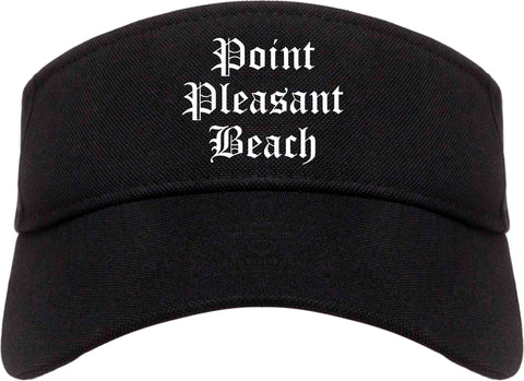 Point Pleasant Beach New Jersey NJ Old English Mens Visor Cap Hat Black