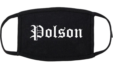 Polson Montana MT Old English Cotton Face Mask Black