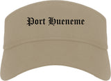 Port Hueneme California CA Old English Mens Visor Cap Hat Khaki