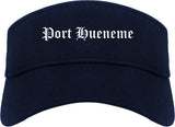 Port Hueneme California CA Old English Mens Visor Cap Hat Navy Blue