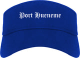Port Hueneme California CA Old English Mens Visor Cap Hat Royal Blue