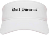 Port Hueneme California CA Old English Mens Visor Cap Hat White