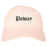 Poway California CA Old English Mens Dad Hat Baseball Cap Pink