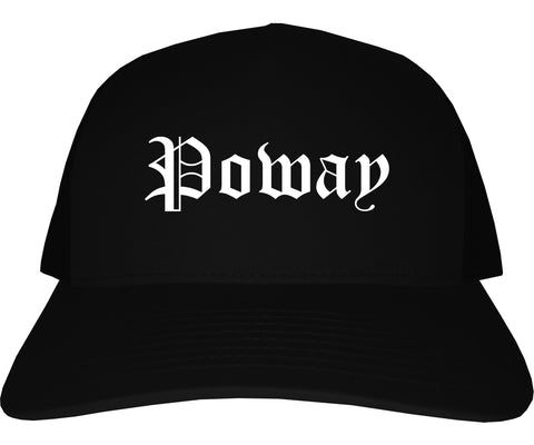 Poway California CA Old English Mens Trucker Hat Cap Black