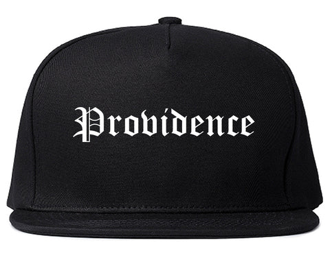 Providence Rhode Island RI Old English Mens Snapback Hat Black
