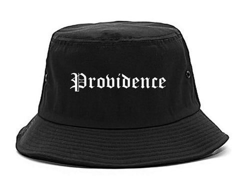 Providence Rhode Island RI Old English Mens Bucket Hat Black