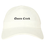 Queen Creek Arizona AZ Old English Mens Dad Hat Baseball Cap White