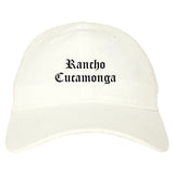 Rancho Cucamonga California CA Old English Mens Dad Hat Baseball Cap White