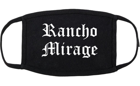 Rancho Mirage California CA Old English Cotton Face Mask Black