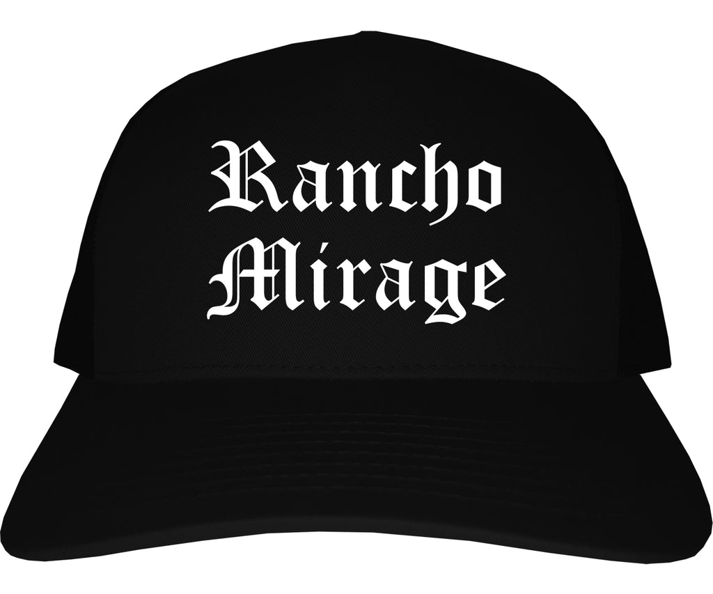 Rancho Mirage California CA Old English Mens Trucker Hat Cap Black