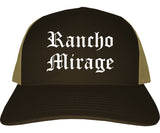 Rancho Mirage California CA Old English Mens Trucker Hat Cap Brown