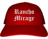 Rancho Mirage California CA Old English Mens Trucker Hat Cap Red