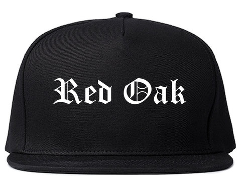 Red Oak Iowa IA Old English Mens Snapback Hat Black