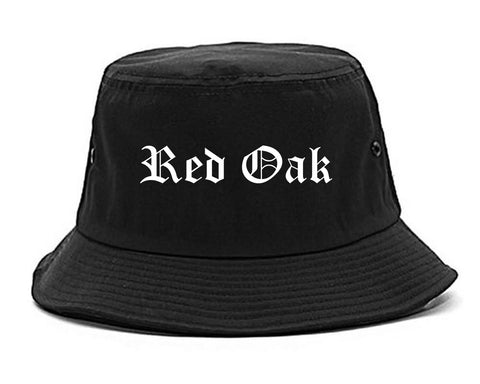 Red Oak Iowa IA Old English Mens Bucket Hat Black