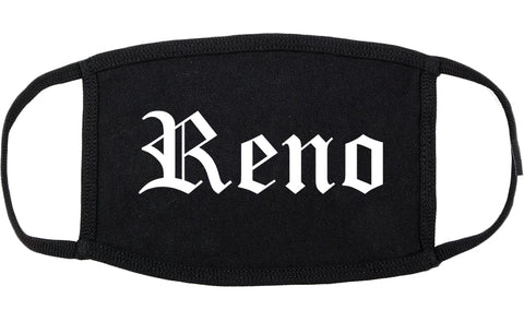 Reno Nevada NV Old English Cotton Face Mask Black