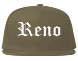 Reno Nevada NV Old English Mens Snapback Hat Grey