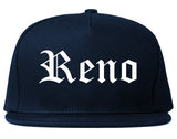 Reno Nevada NV Old English Mens Snapback Hat Navy Blue