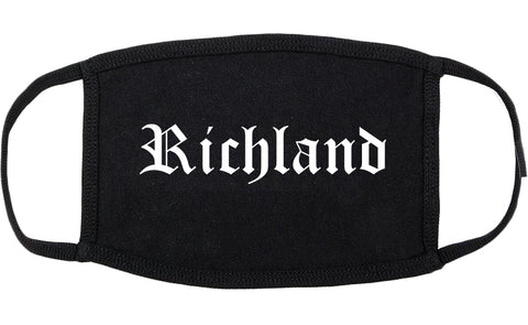 Richland Mississippi MS Old English Cotton Face Mask Black