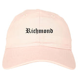 Richmond Virginia VA Old English Mens Dad Hat Baseball Cap Pink
