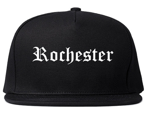 Rochester New York NY Old English Mens Snapback Hat Black