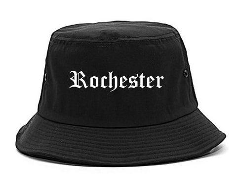 Rochester New York NY Old English Mens Bucket Hat Black