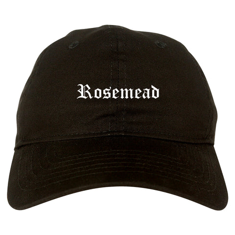 Rosemead California CA Old English Mens Dad Hat Baseball Cap Black