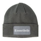 Russellville Arkansas AR Old English Mens Knit Beanie Hat Cap Grey