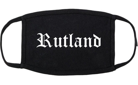 Rutland Vermont VT Old English Cotton Face Mask Black