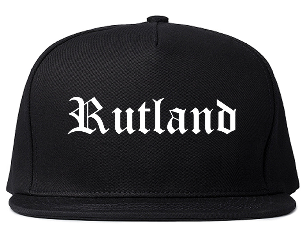 Rutland Vermont VT Old English Mens Snapback Hat Black