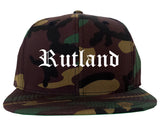 Rutland Vermont VT Old English Mens Snapback Hat Army Camo