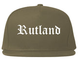Rutland Vermont VT Old English Mens Snapback Hat Grey