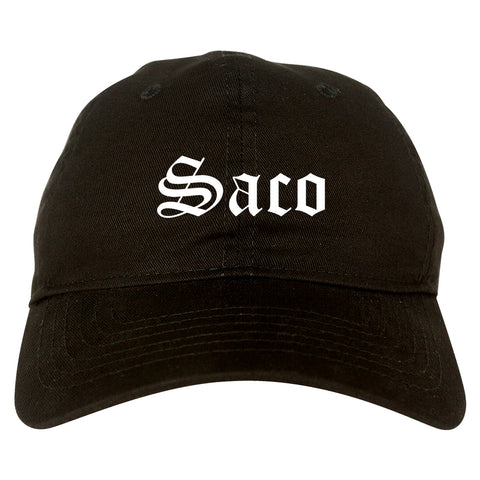 Saco Maine ME Old English Mens Dad Hat Baseball Cap Black