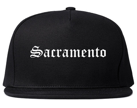 Sacramento California CA Old English Mens Snapback Hat Black