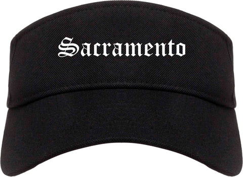 Sacramento California CA Old English Mens Visor Cap Hat Black