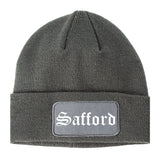 Safford Arizona AZ Old English Mens Knit Beanie Hat Cap Grey