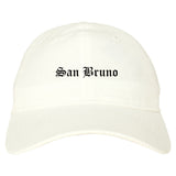 San Bruno California CA Old English Mens Dad Hat Baseball Cap White